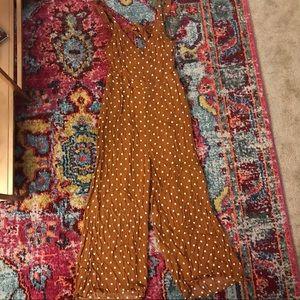 Burnt orange polka dot jumpsuit